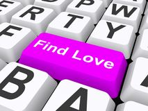Find love button on keyboard. 3d illustration of find love button on computer keyboard, internet dating concept Stock Images