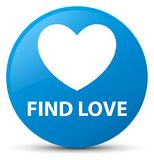Find love cyan blue round button. Find love isolated on cyan blue round button abstract illustration Royalty Free Stock Images