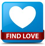 Find love cyan blue square button red ribbon in middle. Find love isolated on cyan blue square button with red ribbon in middle abstract illustration Royalty Free Stock Photo