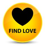 Find love elegant yellow round button. Find love isolated on elegant yellow round button abstract illustration Royalty Free Stock Photo