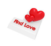 Find Love Enter Button. Isolated on white background. 3D render Royalty Free Stock Photo