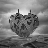 Find Love. And a complicated romantic relationship concept as a man and woman on a group of road paths shaped as a heart as a dating or marriage symbol with 3D Stock Photo