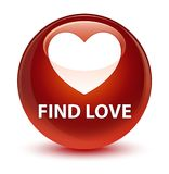 Find love glassy brown round button. Find love isolated on glassy brown round button abstract illustration Stock Photos