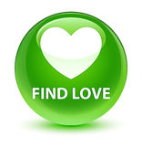 Find love glassy green round button. Find love isolated on glassy green round button abstract illustration Royalty Free Stock Images