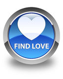 Find love glossy blue round button. Find love isolated on glossy blue round button abstract illustration Stock Photography