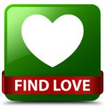 Find love green square button red ribbon in middle. Find love isolated on green square button with red ribbon in middle abstract illustration Royalty Free Stock Image