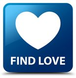 Find love blue square button. Find love isolated on blue square button abstract illustration Royalty Free Stock Photo