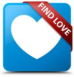 Find love cyan blue square button red ribbon in corner. Find love isolated on cyan blue square button with red ribbon in corner abstract illustration Stock Image