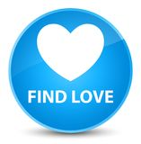 Find love elegant cyan blue round button. Find love isolated on elegant cyan blue round button abstract illustration Stock Image
