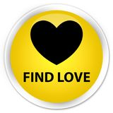 Find love premium yellow round button. Find love isolated on premium yellow round button abstract illustration Stock Photos