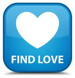 Find love special cyan blue square button. Find love isolated on special cyan blue square button abstract illustration Stock Photo