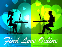 Find Love Online Means Web Site And Loving. Find Love Online Indicating Web Site And Compassionate Stock Photo