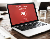 Find Love Online Valentines Romance Love Heart Dating Concept.  Royalty Free Stock Images