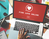 Find Love Online Valentines Romance Love Heart Dating Concept.  Stock Images