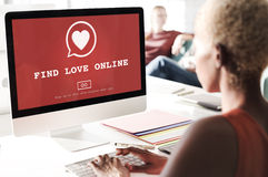 Find Love Online Valentines Romance Love Heart Dating Concept Royalty Free Stock Photography