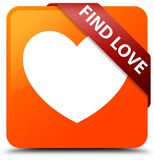 Find love orange square button red ribbon in corner. Find love isolated on orange square button with red ribbon in corner abstract illustration Royalty Free Stock Image