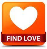Find love orange square button red ribbon in middle. Find love isolated on orange square button with red ribbon in middle abstract illustration Stock Image