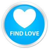 Find love premium cyan blue round button. Find love isolated on premium cyan blue round button abstract illustration Royalty Free Stock Photography
