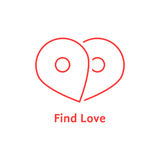 Find love with red outline map pin. Concept of honeymoon, passion, enamored human, destination, happiness. isolated on white background. linear style trend Stock Photos