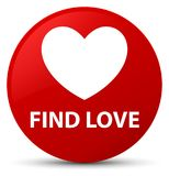 Find love red round button. Find love isolated on red round button abstract illustration Stock Photography