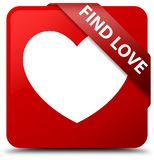 Find love red square button red ribbon in corner. Find love isolated on red square button with red ribbon in corner abstract illustration Royalty Free Stock Photo