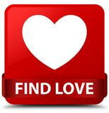 Find love red square button red ribbon in middle. Find love isolated on red square button with red ribbon in middle abstract illustration Royalty Free Stock Images