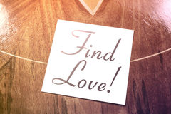Find Love Reminder On Paper Lying On Wooden Table Royalty Free Stock Image