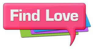 Find Love Pink Colorful Comment Symbol. Find love text written over colorful pink background Royalty Free Stock Photos