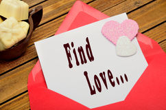 Find love words. On white paper Royalty Free Stock Photos