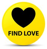 Find love yellow round button. Find love isolated on yellow round button abstract illustration Royalty Free Stock Photo