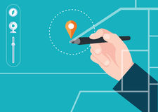 Find map concept flat design Royalty Free Stock Photos