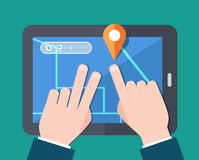 Find map concept flat design. Illustration Stock Photography