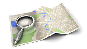 Find on map. 3d illustration of find on map concept or icon, over white background Royalty Free Stock Photo