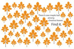 Find maple leaf among chestnut leaves, fun education puzzle game with for children, preschool worksheet activity for kids, task fo stock illustration