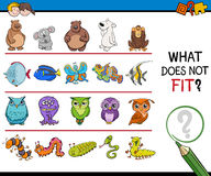 Find mismatched picture game. Cartoon Illustration of Finding Picture that does not Fit with the Rest in a Row Educational Activity for Children Royalty Free Stock Image