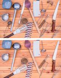 Find missing five puzzle, kitchen cooking themed. Easy level. Five utensils have been removed from the upper picture, can you find them? Easy level. Correct stock images