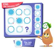 Find the missing item circle iq. Educational game for kids and adults, puzzle. development of logic, iq. Task game find the missing item Royalty Free Stock Photos