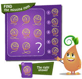 Find the missing item clew. Visual Game for children. Task: find the missing item Stock Photography