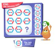 Find the missing item hexagon iq. Educational game for kids and adults, puzzle. development of logic, iq. Task game find the missing item Royalty Free Stock Images