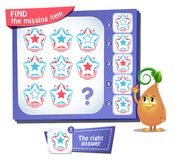 Find the missing item star iq. Educational game for kids and adults, puzzle. development of logic, iq. Task game find the missing item Stock Image