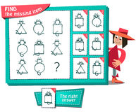 Find the missing item. Visual Game for children. Task: Find the missing item Royalty Free Stock Photos