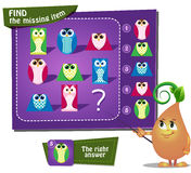 Find the missing owl oval. Visual Game for children. Task: find the missing item Royalty Free Stock Photography