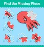Find the missing part kids puzzle game octopus. Find the missing part kids educational jigsaw puzzle game with a colorful red octopus swimming underwater, vector Royalty Free Stock Images