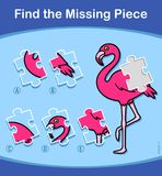 Find The Missing Piece Flamingo puzzle for kids. Find The Missing Piece educational puzzle for little kids with a colorful pink cartoon flamingo and five choices Royalty Free Stock Photography