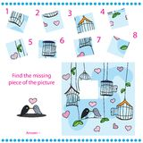 Find missing piece - Puzzle game for Children. With funny birds Royalty Free Stock Images