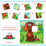Find missing piece - Puzzle game for Children. With funny dog Royalty Free Stock Photography