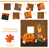 Find missing piece - Puzzle game with pumpkins. Find missing piece - Puzzle game for Children with pumpkins Royalty Free Stock Photos