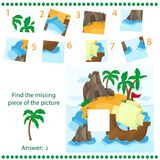 Find missing piece - Puzzle game for Children - Tropical Island and Ship. Find missing piece - Puzzle game for Children - with Tropical Island and Ship Royalty Free Stock Photo