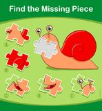 Find the Missing Piece puzzle game with cute snail. Find the Missing Piece kids educational puzzle game with colorful snail and five choices of jigsaw parts Royalty Free Stock Image