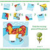 Find missing piece - Puzzle game Rooster Royalty Free Stock Image